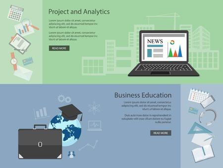 business education: Flat design modern vector illustration concept of  business, education, analytics, management with laptop, briefcase