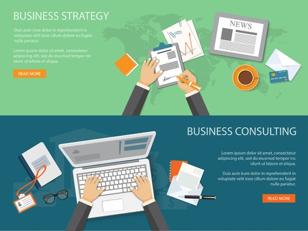 office computer: Flat design modern vector illustration concept of business strategy and consulting