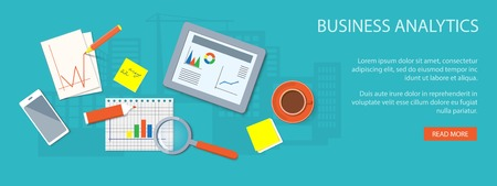 software icon: Flat design modern vector illustration concept of business  analytics