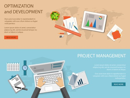 organization development: Flat design modern vector illustration concept of business optimization and development and project management  Illustration