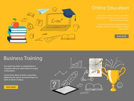 Diseño plano ilustración vectorial moderno conjunto de concepto de la escuela, la universidad, la formación empresarial, la educación en línea, el estudio con los libros, de la tableta, copa ganador - eps 10