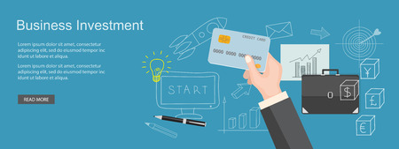 planning: Flat design modern vector illustration  concept of  business site with bank card and hands - eps 10 Illustration