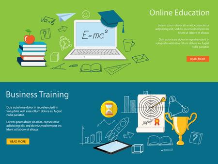 学校、大学、オンライン教育、研究、研修、学術キャップ、書籍、ノート パソコン、優勝カップ、タブレット - eps 10 でウェビナーのフラットなデザ