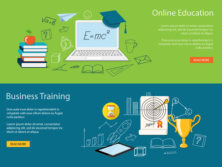 business training: Flat design modern vector illustration  concept of  school, university, online education,  study, training, webinar with academic cap, books, laptop, winner cup and tablet - eps 10 Illustration