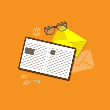 glasses icon: Flat design modern vector illustration concept of education, business, marketing, e-mail marketing, management with book, envelope and glasses - eps10 Illustration