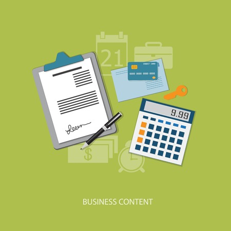 calculator icon: Flat design modern vector illustration concept of business, marketing, management with credit card, envelope, pen, key, paper and calculator  - eps10