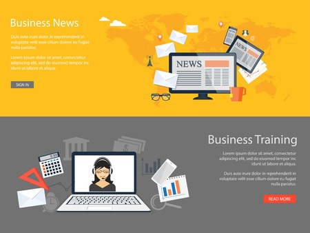 Flat design modern vector illustration concept of  business news, training, education, analytics, management with computer, tablet and mobile phone and with girl, laptop and mobile phone  - eps 10