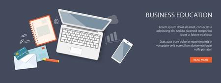 laptop mobile: Flat design modern vector illustration concept of education, business, marketing, e-mail marketing, management with laptop, mobile phone, credit card and envelopes - eps10