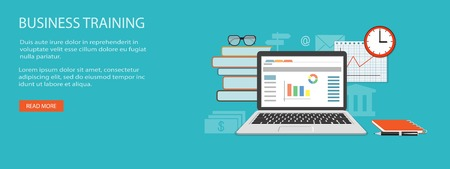 education concept: Flat design modern vector illustration concept of education, business, marketing, e-mail marketing, management with laptop, books, clock, glasses and pen - eps10