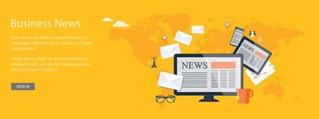 Diseño plano ilustración vectorial moderno concepto de noticias de negocios, noticias, televisión, radio con el ordenador, sobres, tableta y el teléfono móvil - eps10