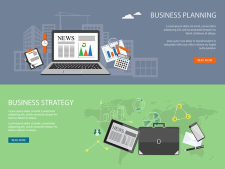 project management: Flat design modern vector illustration concept of  business strategy, planning, analytics, management  with laptop, calculator, clock and loupe and with tablet, briefcase and mobile phone - eps 10