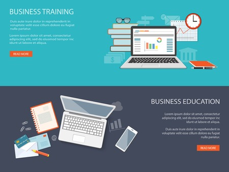 Flat design modern vector illustration concept of education, business, marketing, e-mail marketing, management with laptop, books, clock, glasses and mobile  phone - eps10