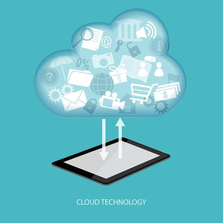tablet vector: Cloud computing concept with tablet. Vector illustration. EPS 10. Illustration