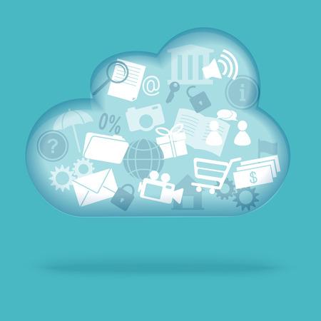 downloading content: Cloud computing concept. Vector illustration. EPS 10.