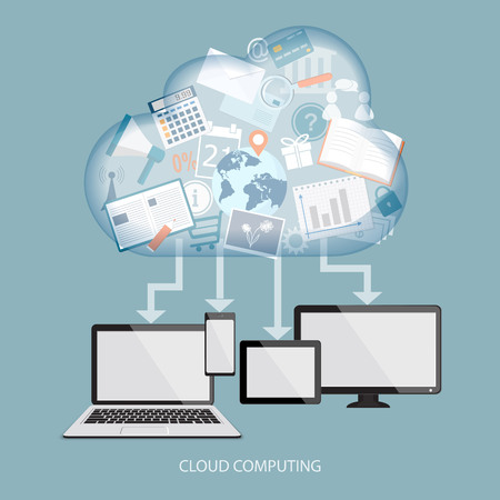 software: Cloud computing concept with computer, laptop, tablet and mobile phone. Vector illustration. EPS 10. Illustration