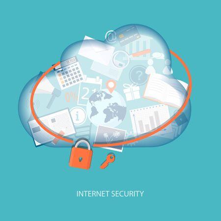 downloading content: Cloud computing concept internet security. Vector illustration. EPS 10. Illustration