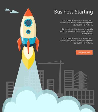 training: Flat  vector illustration. Modern design for business website with a rocket on the black background.