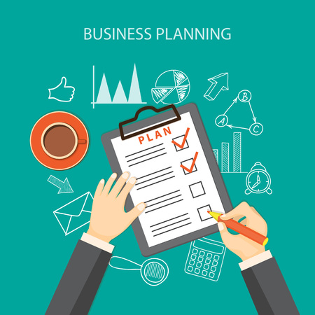 business plan: Flat  vector illustration. Hand with pencil, paper of plan, cup of coffee and hand drawn business symbols.