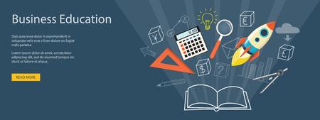 training: Flat design modern vector illustration concept of business educashion, e-book,  online, e-mail marketing, management, analytics with rocket