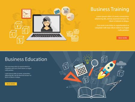 Diseño plano ilustración vectorial moderno concepto de educashion negocio, e-libro, en línea, e-mail marketing, gestión, análisis con cohetes Foto de archivo - 45866467