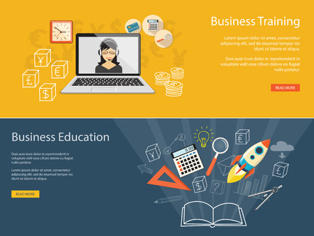 online education: Flat design modern vector illustration concept of business educashion, e-book,  online, e-mail marketing, management, analytics with rocket
