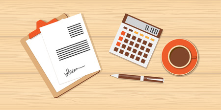 calculator: Flat design modern vector illustration  business concept  with calculator and cup of coffee