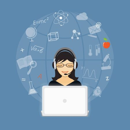 girl laptop: Flat  vector image of girl and laptop with hand drawn symbols and icons on the blue background.