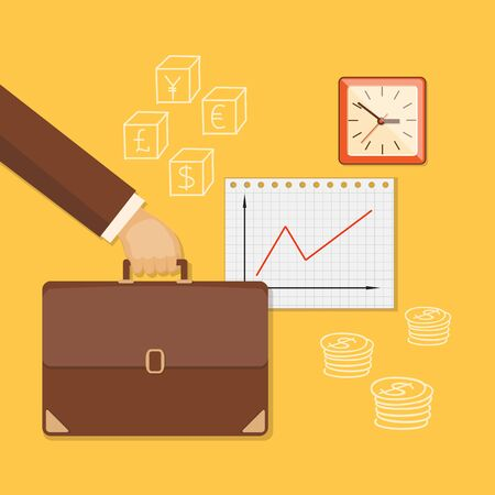 bring up: Flat design modern vector illustration concept of business investment, internet banking with briefcase in the hand, paper and clock.