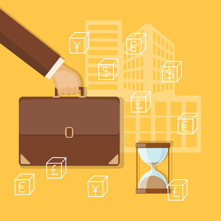 bring up: Flat design modern vector illustration concept of business investment, internet banking with briefcase in the hand and sandglass.