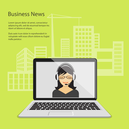 girl laptop: Flat design modern vector illustration concept of business news, on line news, tv, radio with girl and laptop and background of buildings.   Illustration