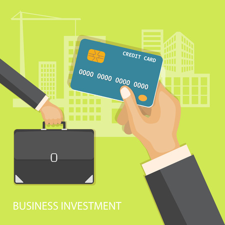 bring up: Flat design modern vector illustration concept of business investment, internet banking with credit card in the hand and briefcase in the hand.  Illustration