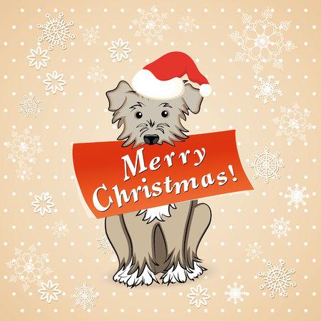 retro postcard: vector illustration christmas card with cartoon dog Illustration