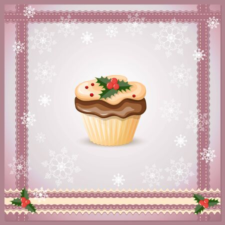violet background: vector illustration christmas card on the violet background with cupcake