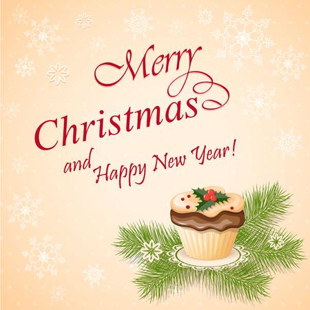 cupcake illustration: vector illustration christmas card with cupcake