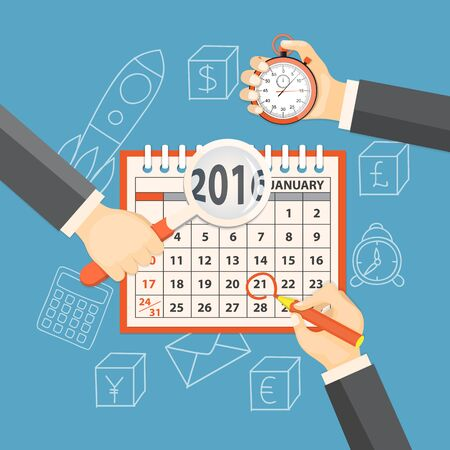 new year counter: Flat  vector illustration.