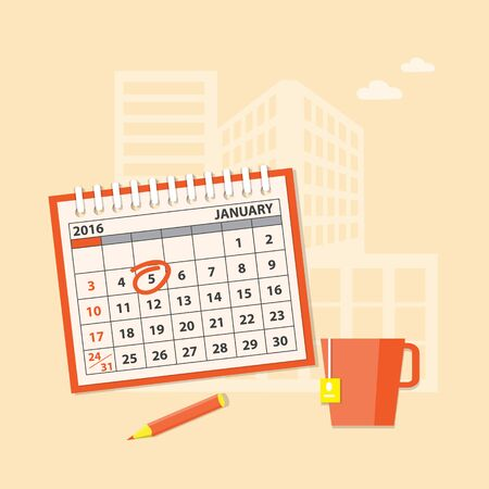 immovable property: Flat modern design concept of business planning with calendar
