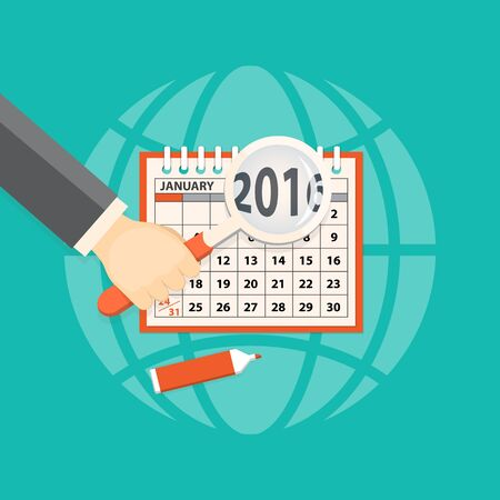 new year counter: Flat  vector illustration.  Illustration