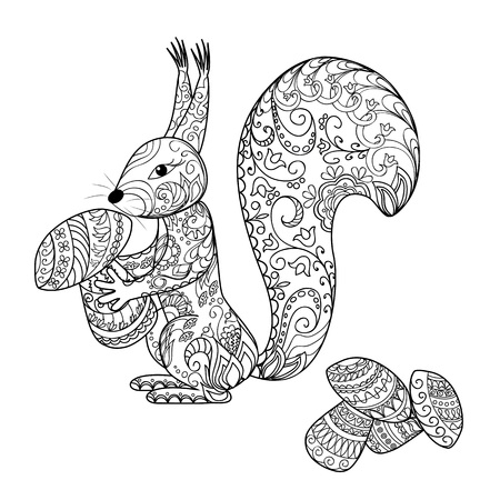 Hand drawn decorated cartoon squirrel  with mushrooms.