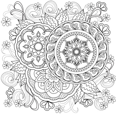 Hand drawn decorated image with flowers and mandalas.