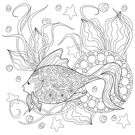 Hand drawn decorated image with fish, mandala and sea herb.