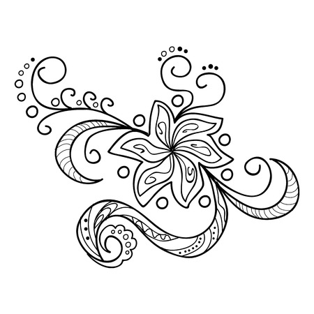 Hand Drawn l'image décorée avec des fleurs.