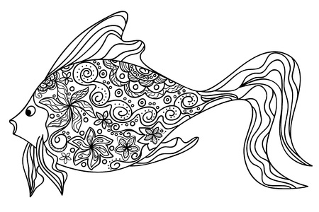 fish drawing: Hand drawn decorated image of fish.  Illustration