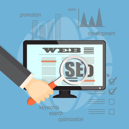 web marketing: Flat illustration. Concept of seo technology for business website. Hands with   magnifier, laptop and hand draw symbols.  Illustration