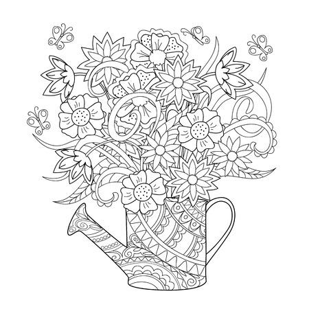 Hand getrokken verfraaid gieter met bloem en kruid. Zentanglestijl. Henna Paisley bloemen Mehndi. Afbeelding voor een volwassene of kinderen kleurplaat, tatoo. Vector illustratie - eps 10.