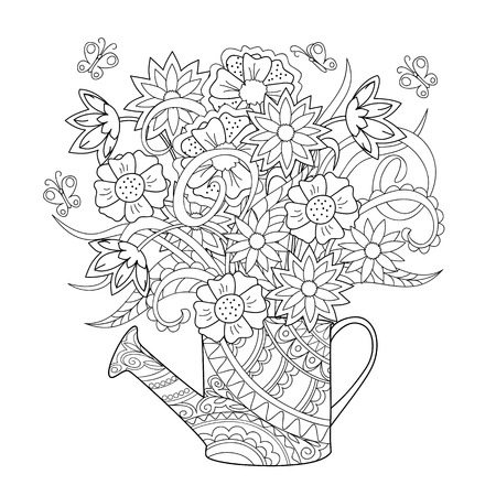 Hand drawn decorated image watering can with flower and herb. Zentangle style. Henna Paisley flowers Mehndi. Image for adult or children coloring  page, tatoo. Vector illustration - eps 10.