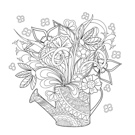 Hand drawn decorated image watering can with flower and herb. Illustration