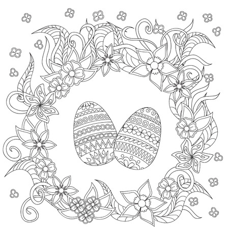 flower white: Hand drawn   decorated egg with doodle flowers. Card for easter day. Illustration
