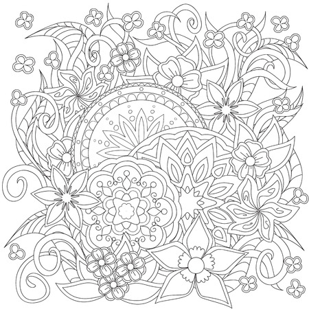 colouring: Hand drawn decorated image with doodle flowers and mandalas. Zentangle style. Henna Paisley flowers Mehndi. Image for adults coloring page. Vector illustration - eps 10.