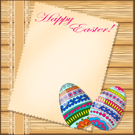 paper sheets: Hand drawn  decorated eggs on the wood background. Image for easter card with old paper. Vector illustration -