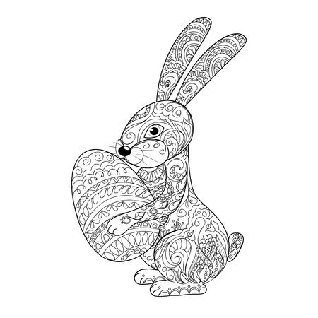 Hand drawn decorated cartoon rabbit with egg. Card for easter day. Zentangle style. Henna Paisley flowers Mehndi. Image for adult or children coloring page, tatoo. Vector illustration